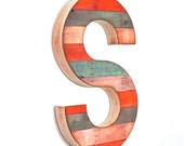 "Reclaimed Wood Look - 16"" Large Wall Letter - Custom"