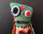 FFFOFG, Halloween Zombie Monster Art Doll, OOAK Original Design, Textile Mixed Media Art Doll, Hand Printed Fabric, Creepy Cute, Skulls