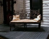 Rustic bench with worn out looking cushion and pillows - dollhouse miniatures