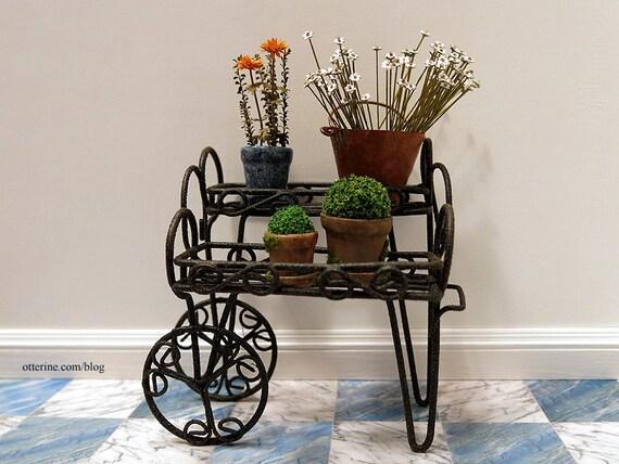 Rustic vendor cart - dollhouse miniature