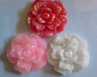 Kawaii big flower with rhinestones decoden deco diy charms  3 pcs---USA USA seller