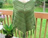 Crochet poncho, womens shawl, Boho style, soft, fall accessory, forest green