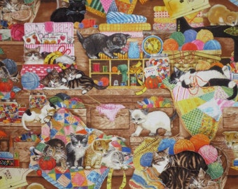 Kitties in the Sewing Room Print Pure Cotton Fabric--One Yard