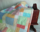"Toddler Blanket - Bassinet Quilt - 37"" x 24"" - Childs Quilt - Machine Quilted Pastel Quilt - Stroller Blanket - Travel Quilt"