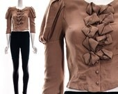 Vintage 80s does 50s Light Brown Jacket Rosettes Puff Shoulders Cropped Jacket Bolero Short Jacket XS S