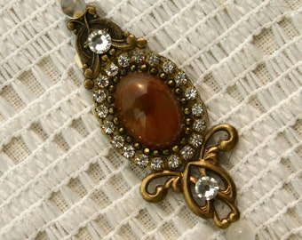 Large Genuine Fancy Jasper Bindi in Oxidized Brass