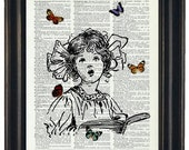 BOGO Sale Girl Singing With Butteflies Art Print with A HHP Original with HHP Signature Butterflies Wall Decor Dictionary Dictionary Prints