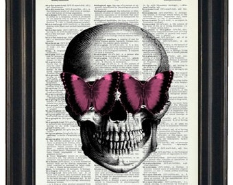 BOGO SALE Skull With Pink Butterfly Glasses Art Prints with HHP Original Design Wall Decor Steampunk Art Print Dictionary Prints