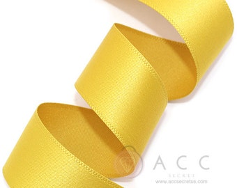 Mustard Single Faced Satin Ribbon - 10mm(3/8''), 15mm(5/8''), 25mm(1''), and 40mm(1 1/2'') - Semi Gloss Flat Satin