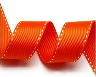 5Yards Orange/White Grosgrain Stitch Ribbon - 5mm(2/8''), 10mm(3/8''), 15mm(5/8''), and 25mm(1'')