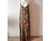 Floral Maxi dress,Brown flower maxi dress,Tribal Maxi Dress,Summer Dress,high slit dress,boho dress,halter dress,Medium to Large dress