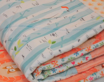 Modern baby Quilt peach and aqua owl and woodpecker filled Squares - Crib quilt - patchwork - soft blue and peach birch trees