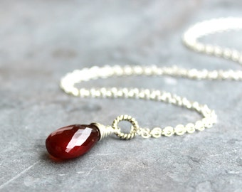 Spessartite Garnet Necklace Sterling Silver Gemstone Cinnamon Briolette Pendant Necklace