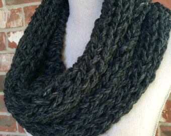 Infinity Scarf Circle Scarf Chunky Knit Cowl Charcoal Grey Black - Industrial Whimsy - Ready to Ship