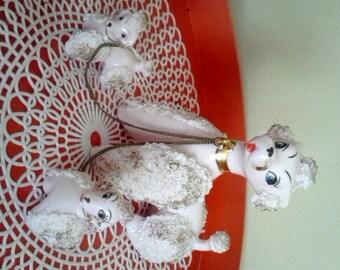 1950s Vintage Pink Spaghetti Poodle Figurine Set