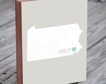 Philadelphia Art - Philadelphia Map - Philadelphia Wall Art - Philadelphia Print - Wood Block Art Print