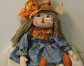 Scarecrow girl Primitive Fall Autumn Cloth Doll Handmade