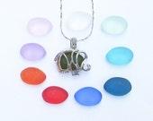 Colorful Set of 10 Sea Glass Elephant Locket Necklace Beach Boho Summer Stye by Wave of Life™
