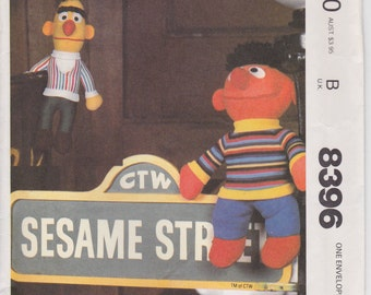 Bert and Ernie Plush Doll Sesame Street Muppets Uncut 1983 McCalls 8396