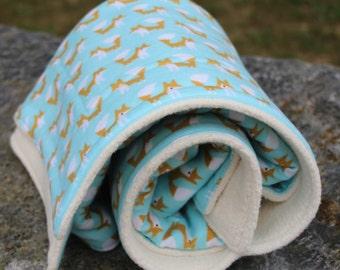 Organic Sherpa Baby Blanket - Blue - Organic Blanket - Organic Flannel