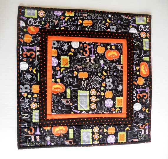 ... Table Topper, Table Runner, Halloween Decoration, Orange and Black