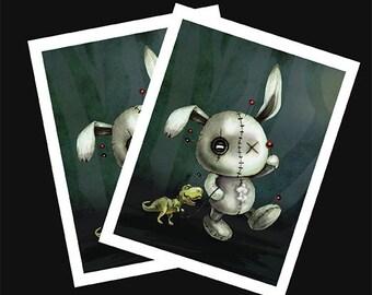 Stitches- Voodoo Bunny Print - Baby T-Rex - Creepy Cute Art