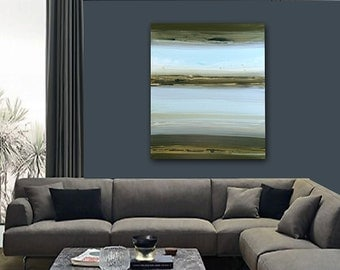 """Large 30"""" x 40"""" Original Abstract Painting - Contemporary Wall Art Decor - LAKE - blue green water"""