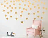 Gold polka dots wall decals, 1-color set, confetti dots - nursery decor -polka dot wall stickers