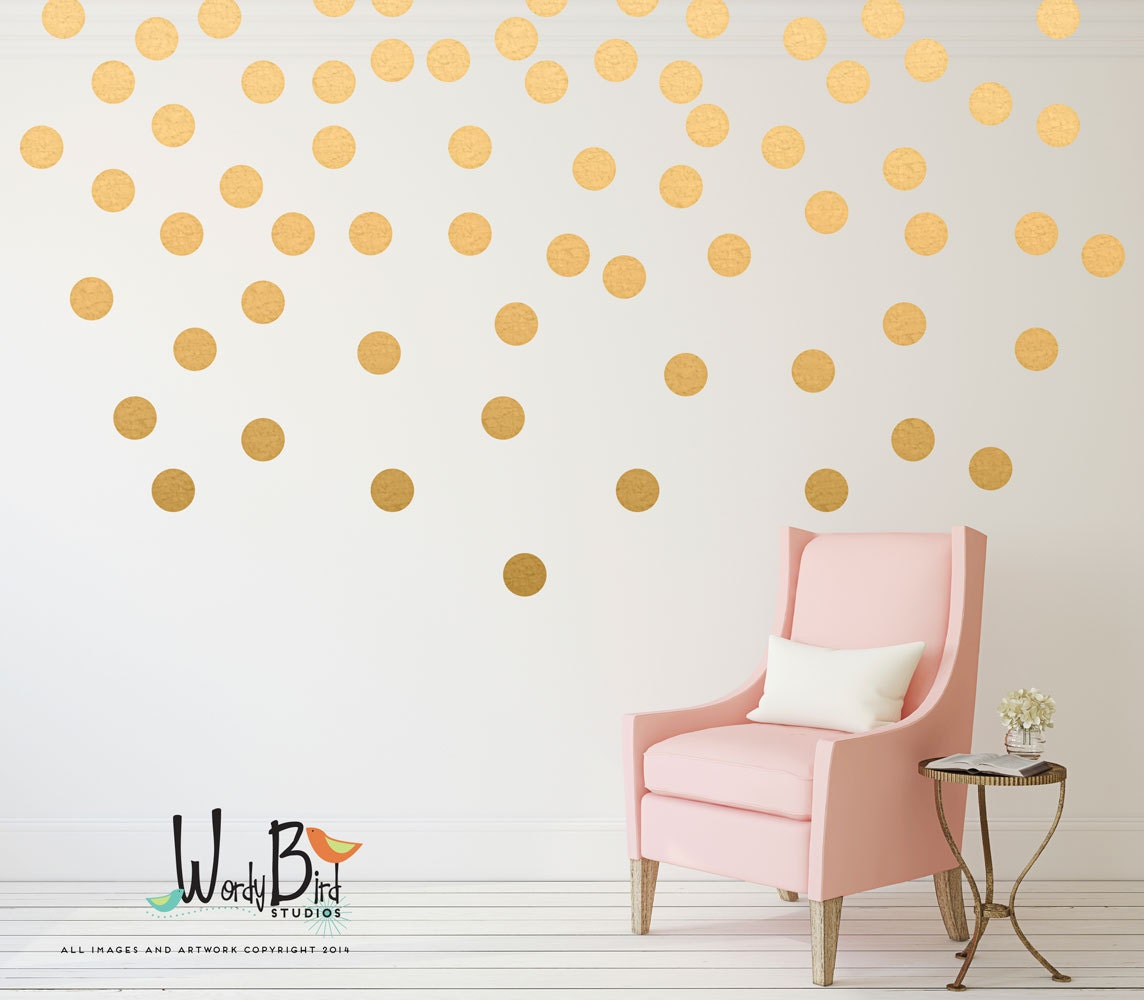 Gold Polka Dots Wall Decals 1 Color Set By Wordybirdstudios