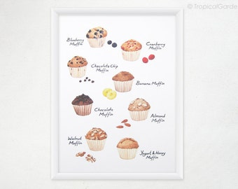 Muffin Kitchen Print - 8x11 Watercolor Food Art / Kitchen Art, Kitchen Decor