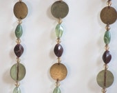 Vintage beaded curtain/ boho decor/ green/purple/gold/ room divider