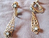 Art NOUVEAU style gold tone MOONSTONE cabochons pat. pending 1965 EARRINGS