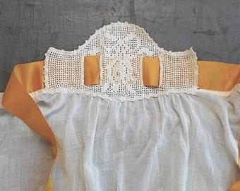 Vintage Dress Apron Small Womens or Girls White Cotton Filet Crochet Waist with Marigold Ribbon Ties Edwardian Era Serving Costume Accessory