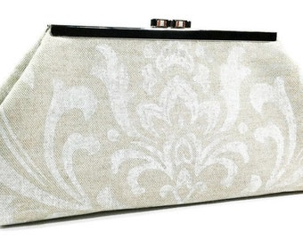 Clutch Purse - Beige and White Damask