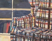Original Oil Painting - Brown Plaid Basement Couch