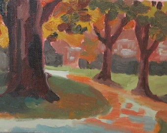 Original Oil Painting - Autumn Tree Landscape