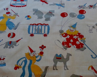 """Vintage Cotton 1940s Circus Fabric 24 1/2"""" x 23 1/2"""", Great Graphics"""