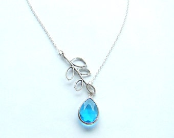 Leaf and Turquoise Teardrop Silver Necklace, Turquoise Teardrop Necklace
