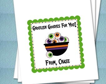 Personalized Halloween Favor Bags - Bowl Of Ghoulish Eyeballs - Party Favor Bags, Class Party Bags, Candy Bags, Trick or Treat Bags