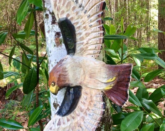 """Red-Tailed Hawk 31"""" rustic wildlife chainsaw carving deck /patio/ home decor wall mount detailed wildbird flying wood sculpture art"""
