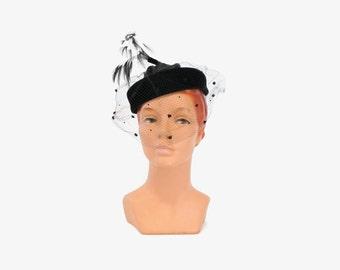 Vintage 50s FEATHER HAT with VEIL / 1950s Whimsical Black Veiled Velvet Statement Hat