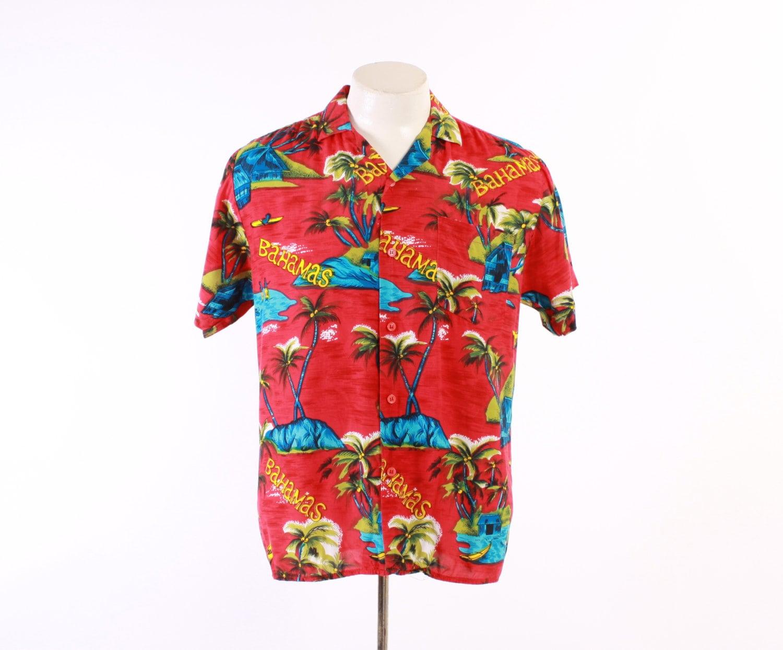 60s Men's Novelty HAWAIIAN SHIRT / 1960s Tropical BAHAMAS Palm Trees Huts Rayon Aloha Rockabilly Shirt