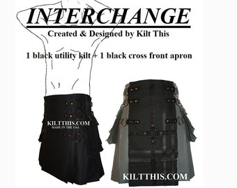 Interchangeable Black 10oz Canvas Snap Utility Kilt Black on Black Gear Apron Set Adjustable Custom Fit with Large Expanding Cargo Pockets