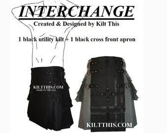 Interchangeable Black 10oz Canvas Snap Utility Kilt Black on Black Gear Apron Set Adjustable Custom Fit with Large Expanding Cargo Pockets