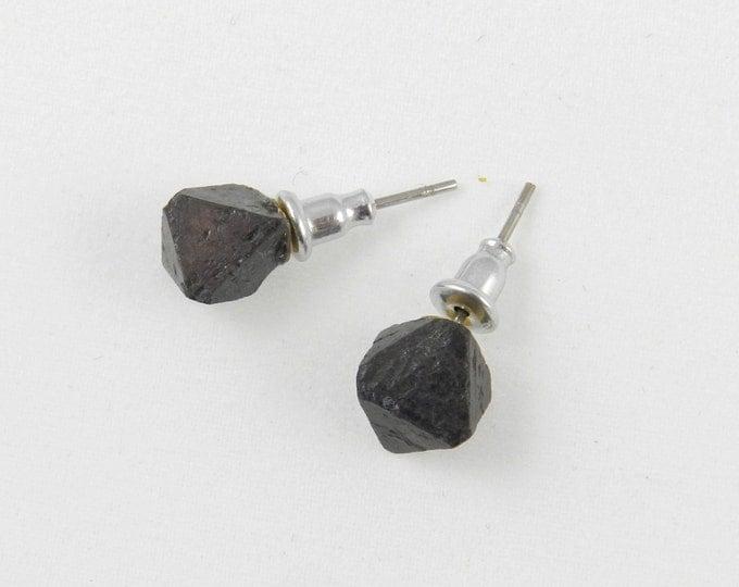 Magnetite Raw Crystal Stud Earrings, Naturally Magnetic Earrings, Crystal Druzy Stud Earrings, Raw Stone Earrings