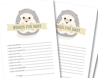 Wishes For Baby Card, Baby Shower Activity // BABY HEDGEHOG