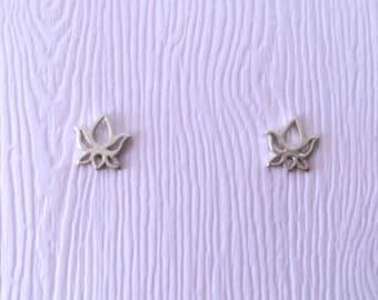 Tiny Lotus Flower post earrings