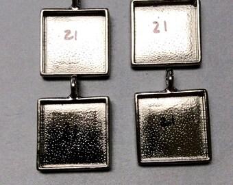 Square Bezel Pendant Blanks, 21mm, Set of 4, DESTASH