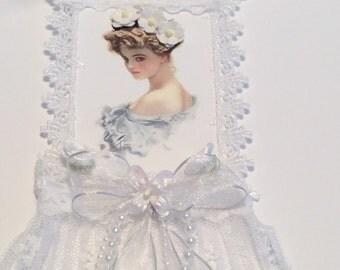 Wedding Tag, Vintage Tag, Bridal Shower Tag, Bridal Shower Tag, Lace Tag, OOAK
