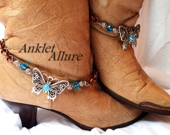 Fly By Butterfly Boot Chains Blue Crystal Boot Chains Copper Silver Boot Jewelry Cowboy Boots Cycle Boot Jewelry